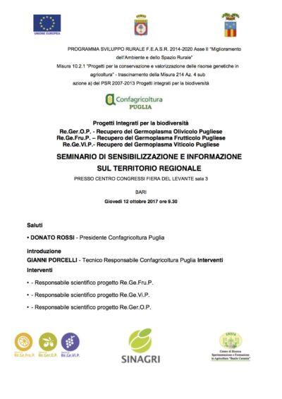 LOCANDINA BIODIVERSITA II CONVEGNO CONFAGRICOLTURA PUGLIA Bari F.d.L 12 ottobre 2017