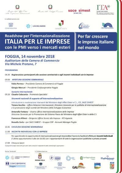 Roadshow Foggia - PROGRAMMA