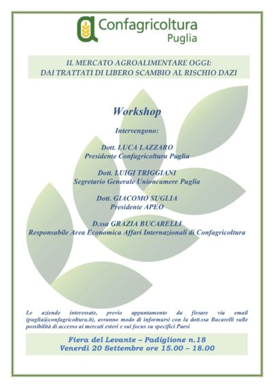 Invito workshop Confagricoltura Puglia 20 settembre
